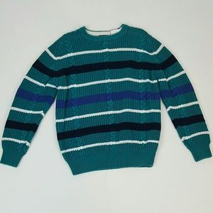 Teal striped vintage sweater men's women's unisex
